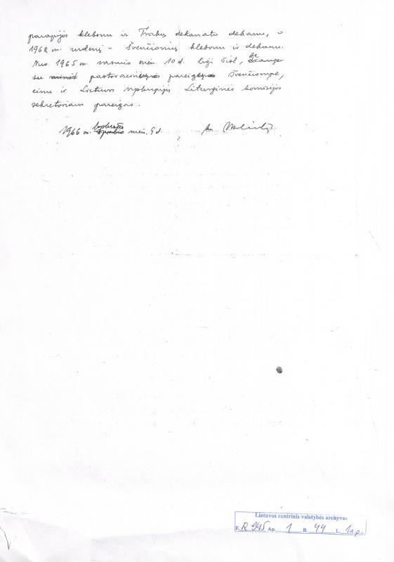 Kun. Vaclovas Aliulis. Kun. Aliulio Vaclovo Antano s. , autobiografija. 1966, lapkričio 9 d.
