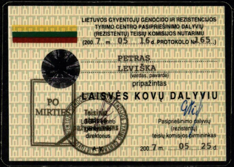 Laisvės kovų dalyvio Petro Leviškos pažymėjimas
