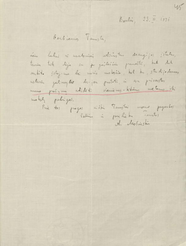 Algirdo Mošinskio laiškas XXVII knygos mėgėjams. Berlynas, 1931 m. kovo 23 d.