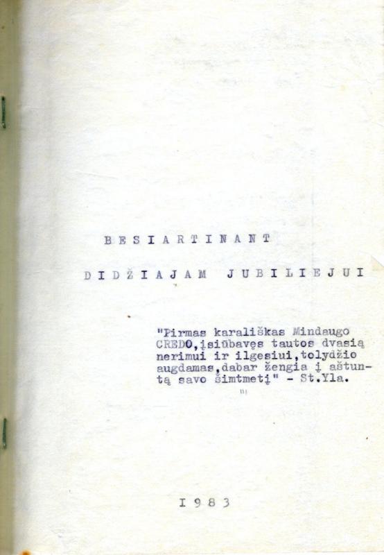 Besiartinant didžiajam jubiliejui. [S. l.], 1983. 104 lap.
