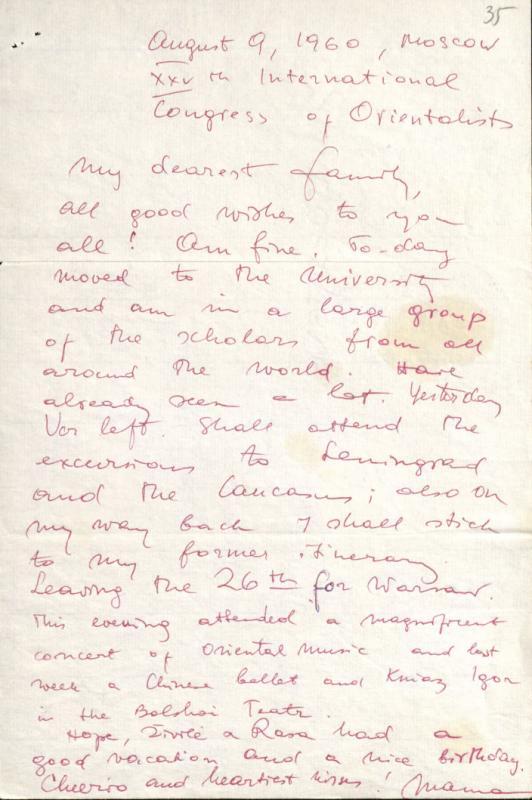 M. Gimbutienės laiškas šeimai