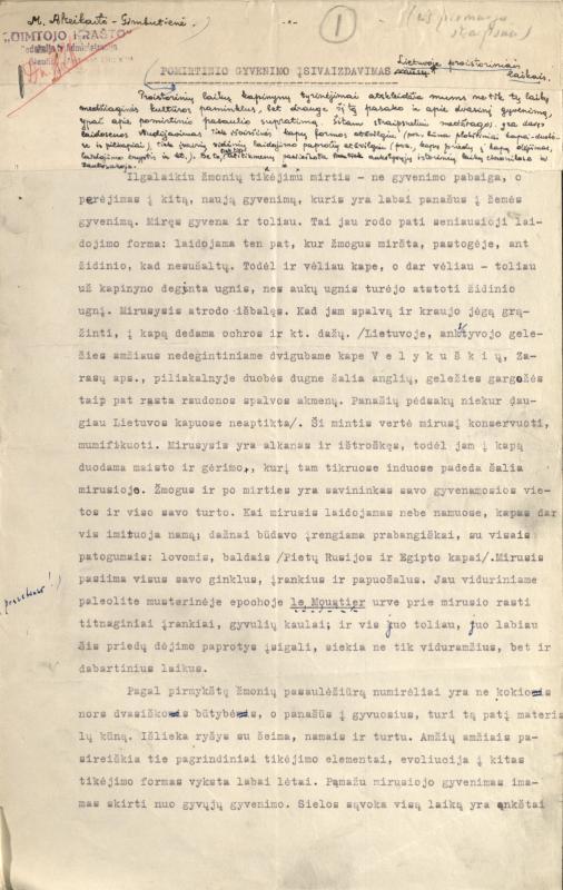 Alseikaitė-Gimbutienė, Marija. Pomirtinio gyvenimo įsivaizdavimas Lietuvoje proistoriniais laikais
