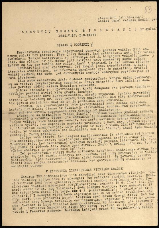 Lietuvių fronto biuletenis Nr. 20