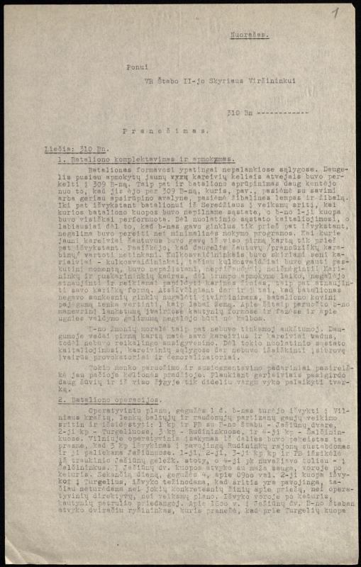 Pranešimo Vietinės rinktinės štabo II skyriaus viršininkui nuorašas