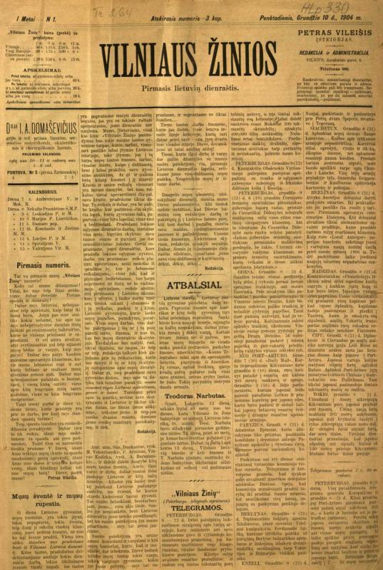 Vilniaus žinios, 1904, Nr. 1