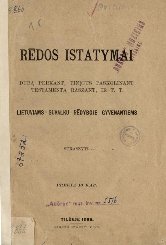 Maślakiewicz, Dominik. Rēdos istatymai dubą perkant, pinįgus paskolinant, testamentą raszant, ir t. t.: lietuviams Suvalku rēdyboje gyvenantiems suraszyti