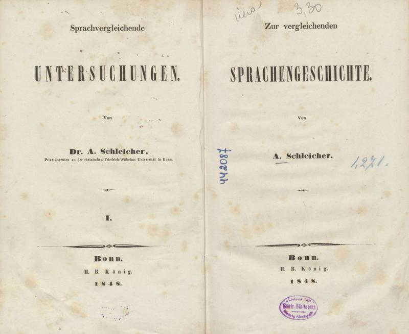 Schleicher, August. Zur vergleichenden Sprachengeschichte