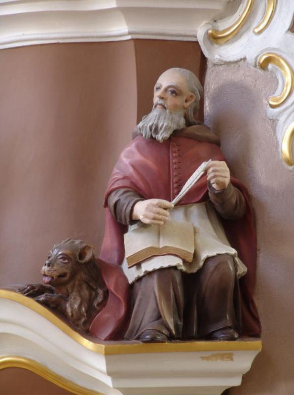 """[Jurgis Mažeika]. Sakyklos skulptūra Šv. """"Jeronimas"""", XVIII a. II p."""