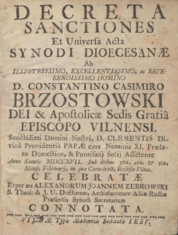 Decreta, sanctiones et universa acta Synodi dioecesanae
