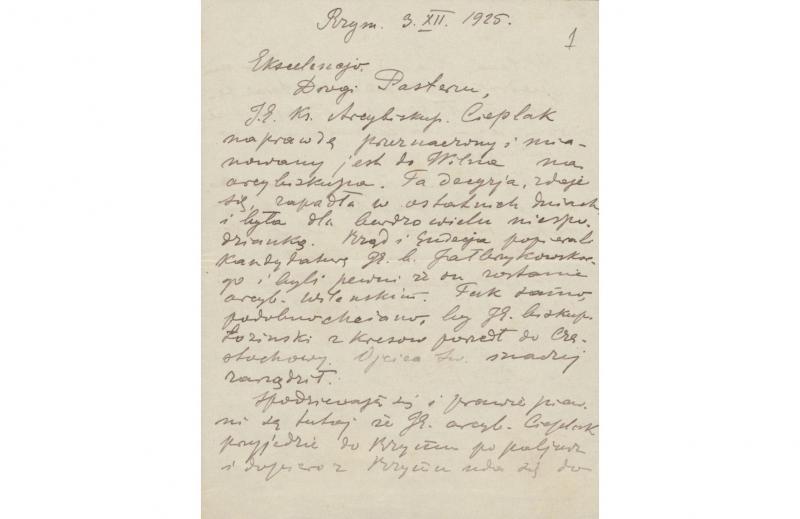 Vyskupo Jurgio Matulevičiaus laiškas iš Romos apie numatomą J. Ciepliako paskyrimą Vilniaus arkivyskupu