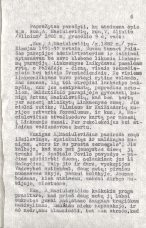 Kunigas Antanas Maciulevičius, 1882–1968: paliko žmonių atmintyje. [Parengė Stanislovas Kiškis?]. [S. l.], 1982. 141 lap.