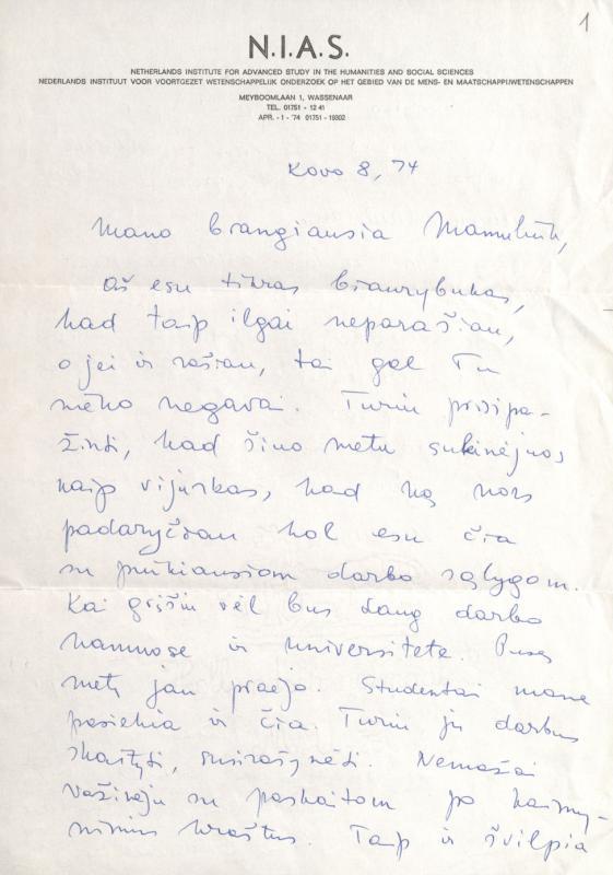 M. Gimbutienės laiškas tetai Julijai Matjošaitienei