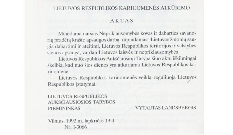 Lietuvos Respublikos kariuomenės atkūrimo aktas