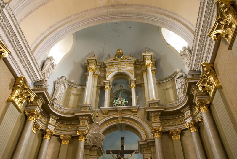 Didžiojo altoriaus II tarpsnis su keturių Bažnyčios tėvų skulptūromis. Antras iš kairės – Šv. Jeronimas. XX a. pr.