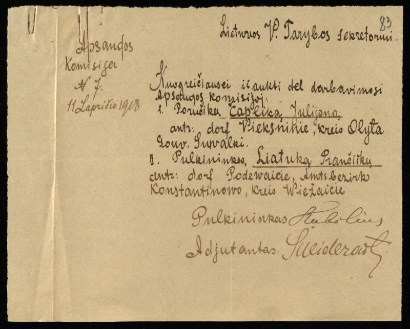 Apsaugos komisijos raštas. 1918 11 11