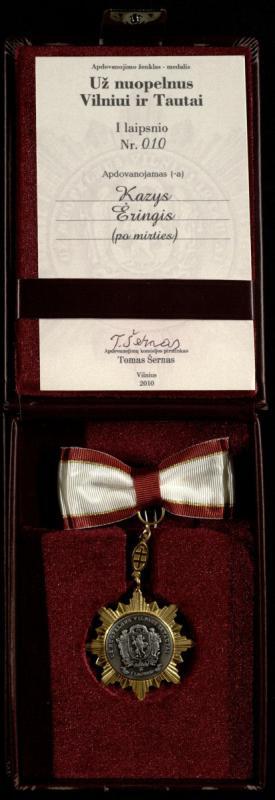 """Kazio Ėringio apdovanojimo ženklas-medalis """"Už nuopelnus Vilniui ir tautai"""" (po mirties). 2010 m."""