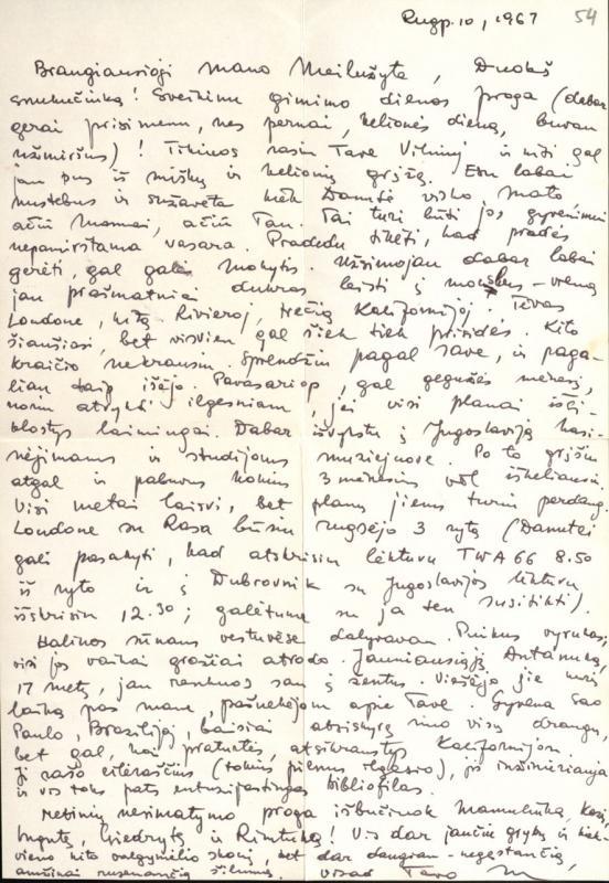 M. Gimbutienės laiškas pusseserei Meilei Lukšienei