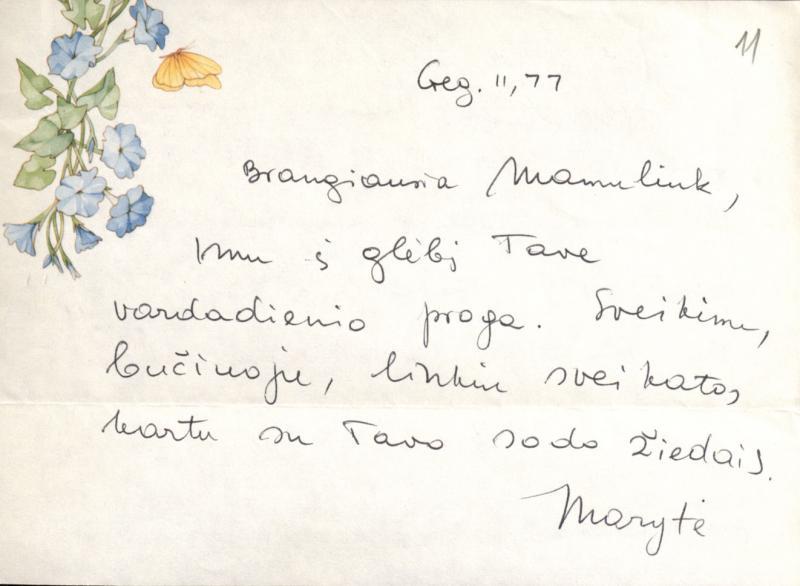 M. Gimbutienės laiškelis, atsiųstas tetai J. Matjošaitienei