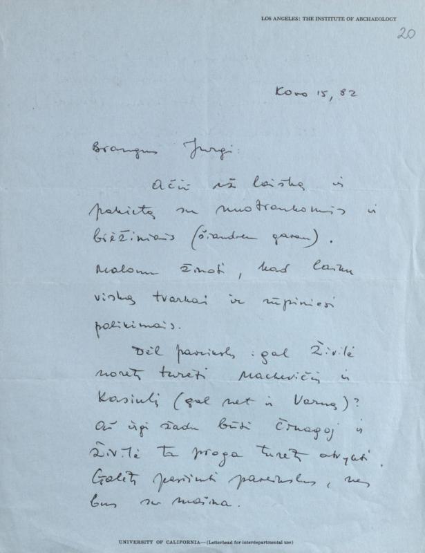 M. Gimbutienės laiškas J. Gimbutui