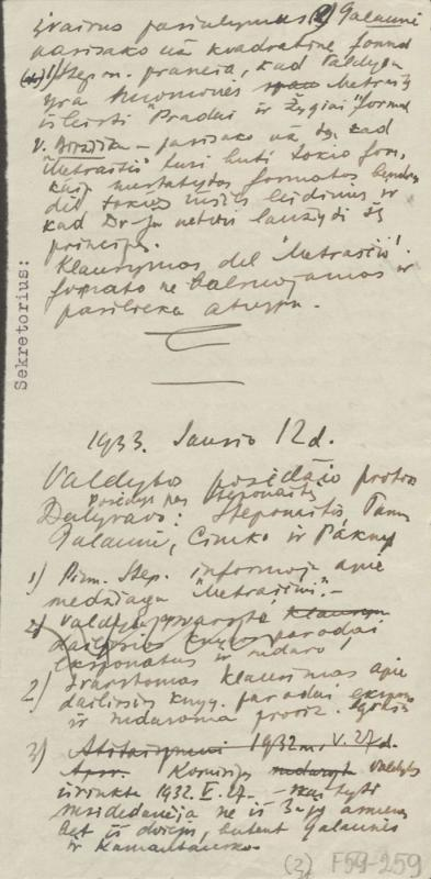 Viktoro Cimkausko rašyti susirinkimų protokolų juodraščiai. Kaunas, 1931–1933.