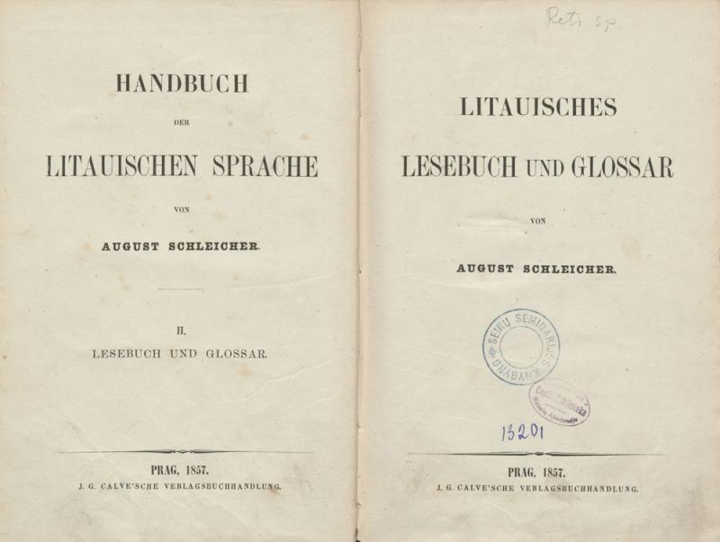 Schleicher, August. Litauisches Lesebuch und Glossar