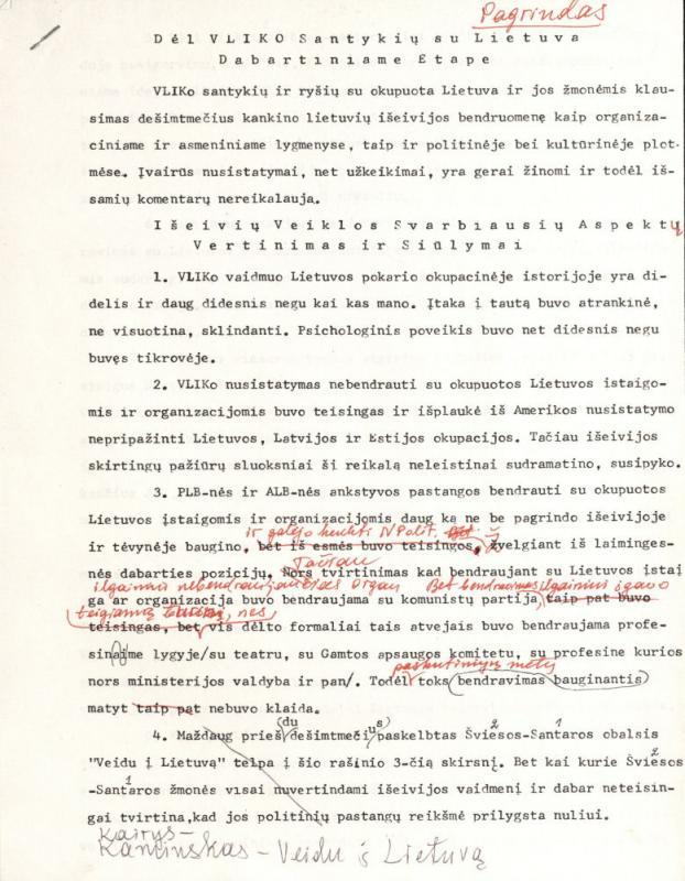 Dėl Vyriausiojo Lietuvos išlaisvinimo komiteto (VLIK) santykių su Lietuva dabartiniame etape. Čikaga, 1990 m. vasario 23 d.