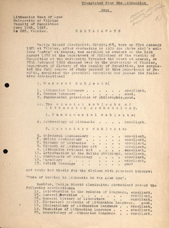 M. Gimbutienės VU baigimo diplomo nuorašas, išverstas į anglų kalbą