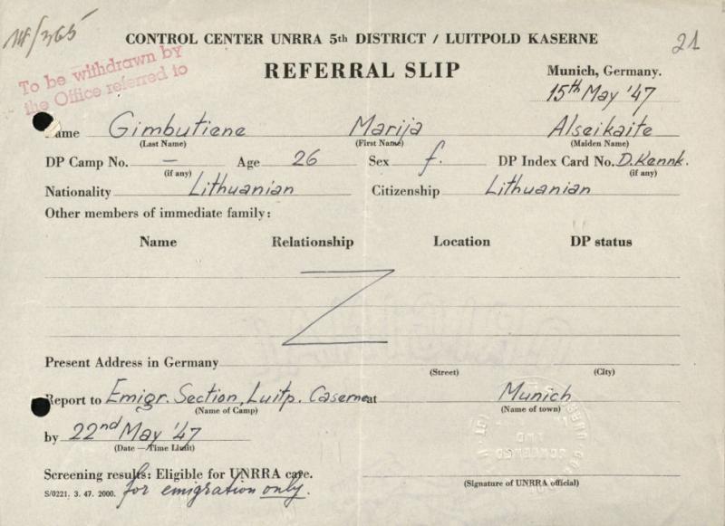 M. Gimbutienės persiuntimo lapelis, išduotas Jungtinių Tautų pagalbos ir reabilitacijos administracijos (UNRRA) kontrolės centro