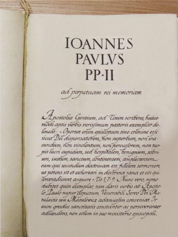 Jono Pauliaus II apaštališkasis laiškas, kuriuo arkivyskupą Jurgį Matulaitį paskelbė palaimintuoju