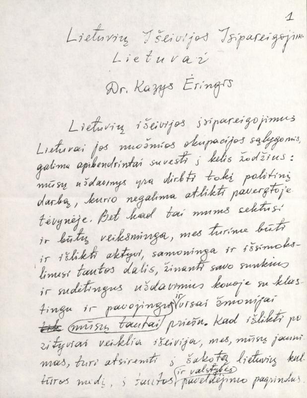 """Kazio Ėringio straipsnis """"Lietuvių išeivijos įsipareigojimai  Lietuvai"""". [1985] m."""