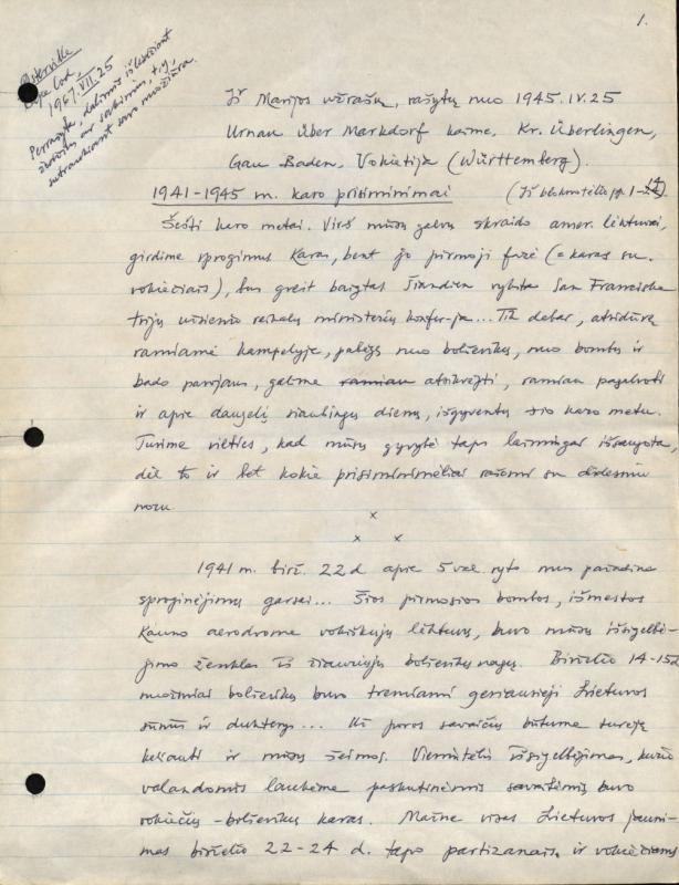 Gimbutas, Jurgis. Iš Marijos užrašų, rašytų nuo 1945.IV.25 Urnau über Markdorf kaime, Kr. Überlingen, Gau Baden, Vokietija (Württemberg)