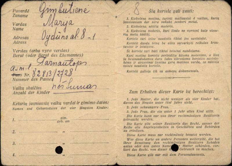 Marijos Gimbutienės, kaip motinos, kortelė, išduota Savitarpinės pagalbos komiteto