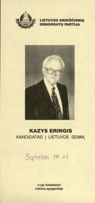 Antakalnio 3-iosios rinkimų apygardos kandidato Kazio Ėringio rinkiminis bukletas ir programa. 1996 m.