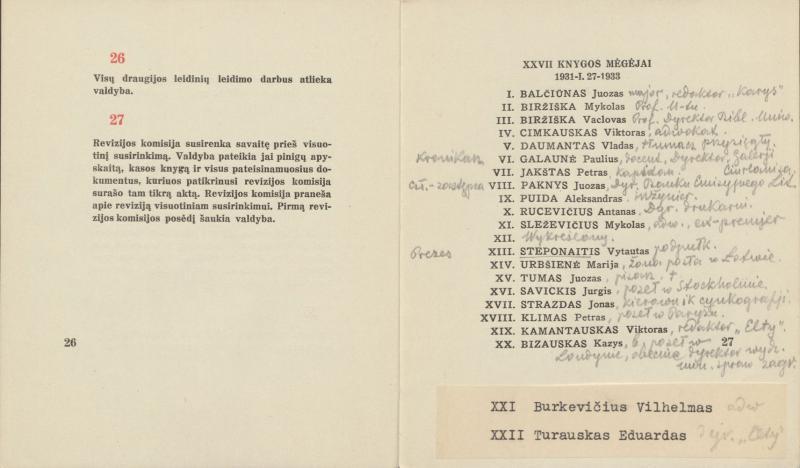 XXVII knygos mėgėjų įstatai ir reguliaminas. Kaunas, 1933. 27 p.