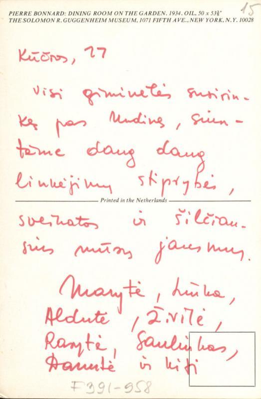 M. Gimbutienės sveikinimo atvirukas, atsiųstas tetai J. Matjošaitienei