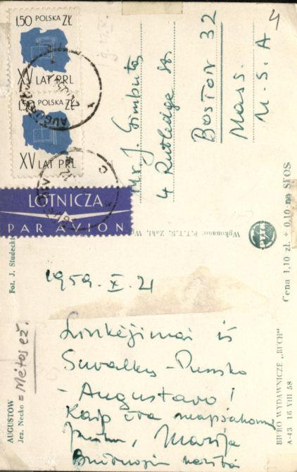 Trys M. Gimbutienės atvirlaiškiai iš Lenkijos, skirti J. Gimbutui