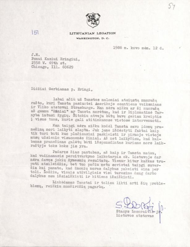 Kazio Ėringio raštai Vyriausiojo Lietuvos išlaisvinimo komiteto (VLIK) Valdybai bei laiškas Lietuvos atstovui Vašingtone Stasiui Lozoraičiui; Stasio Lozoraičio atsakymas. Čikaga, 1988 m.