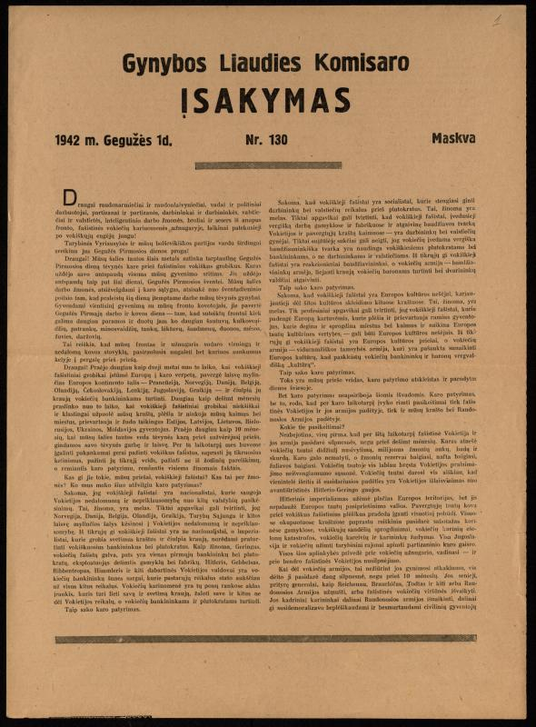 Gynybos liaudies komisaro įsakymas Nr. 130