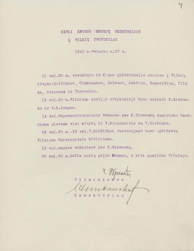 Ekskursijos į Vilnių protokolas. Kaunas, 1940 m. vasario 27 d.
