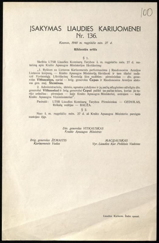 Įsakymas liaudies kariuomenei Nr. 136