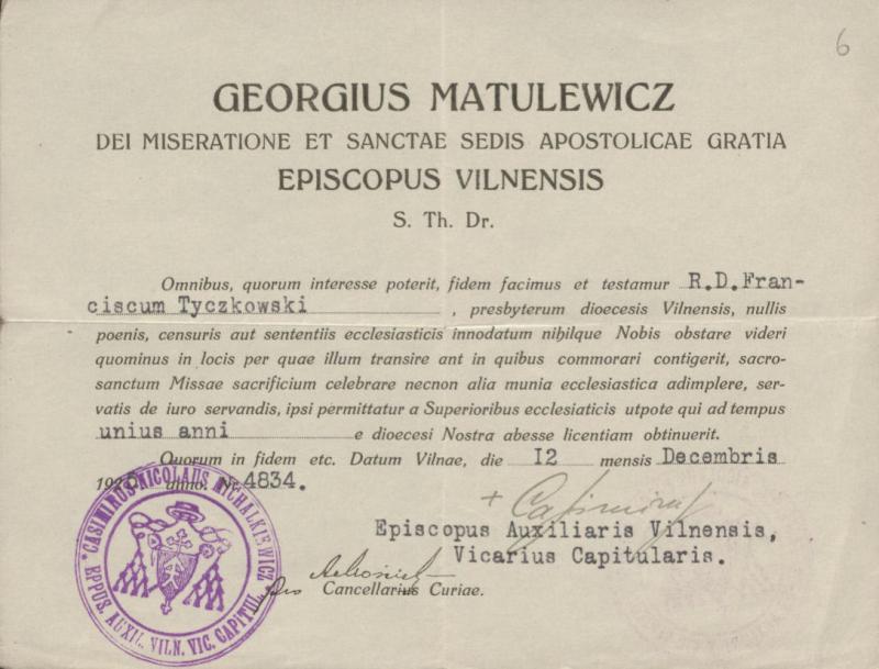 Vilniaus vyskupo Jurgio Matulevičiaus leidimas kunigui Pranciškui Tičkovskiui laikyti mišias