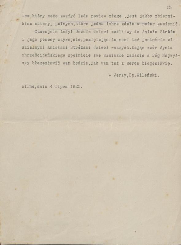 Vilniaus vyskupo Jurgio Matulevičiaus ganytojiškas laiškas vaikų katalikiško auklėjimo klausimais 1925 m.