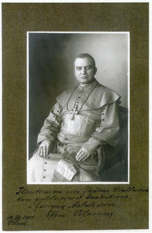 Jurgio Matulevičiaus portretas su dedikacija bičiuliui Tadui Vrublevskiui