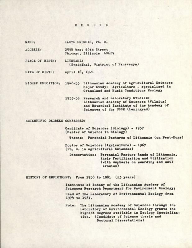 Kazio Ėringio biografija. 1985 m.
