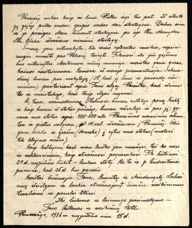 Kpt. Antano Maksimaičio laiškas