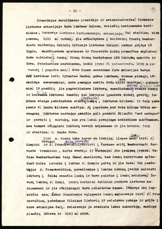 P. Brazdžiūnas prisiminė pirmus žuvusius lietuvių lakūnus.