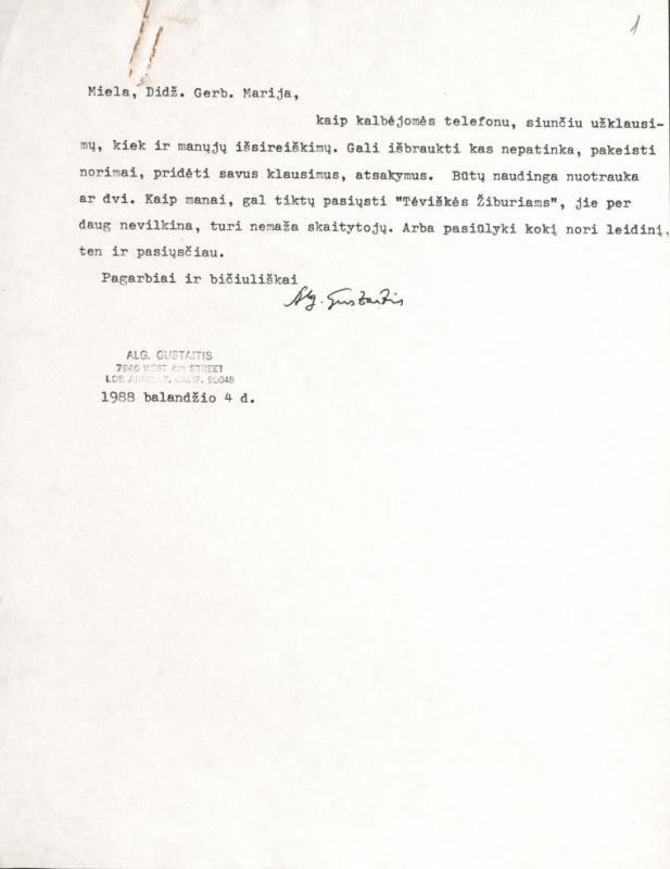 Algirdo Gustaičio laiškas M. Gimbutienei