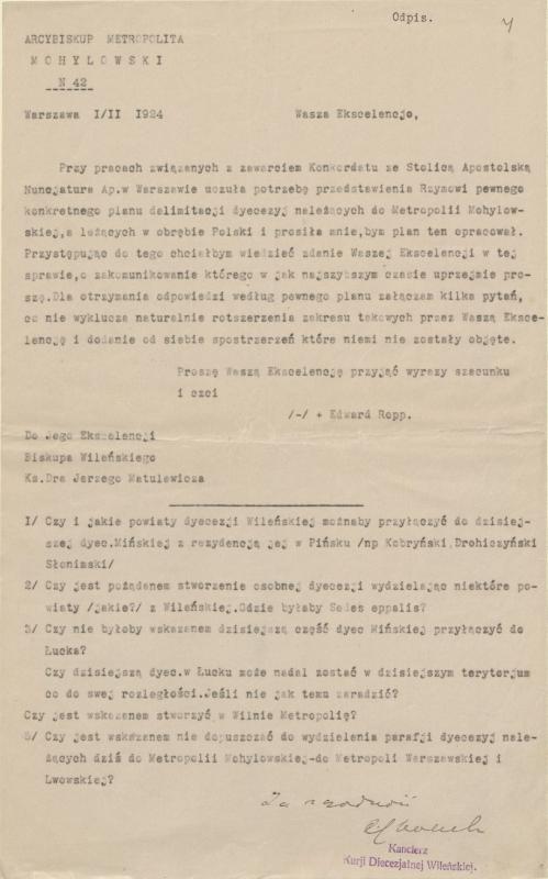 Mogiliovo metropolito Eduardo Roppo ir Vilniaus vyskupo Jurgio Matulevičiaus susirašinėjimas 1924 m.