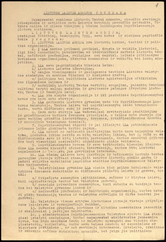 Lietuvos laisvės armijos programa