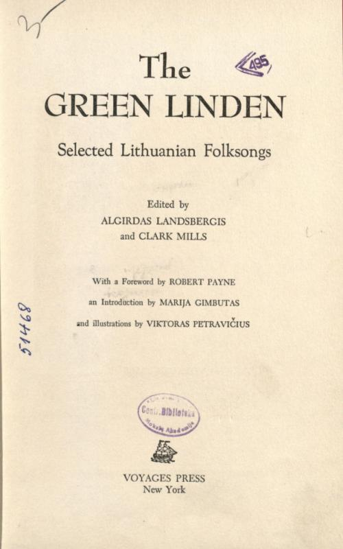 The Green Linden: selected Lithuanian folksongs